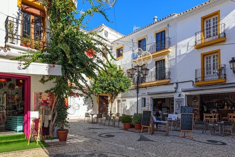 Raditional Hiszpańska architektura stary miasteczko Marbella, Andalusia, Hiszpania zdjęcie royalty free