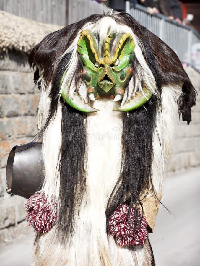 Raditional Tschaggatta costume in Wiler royalty free stock image
