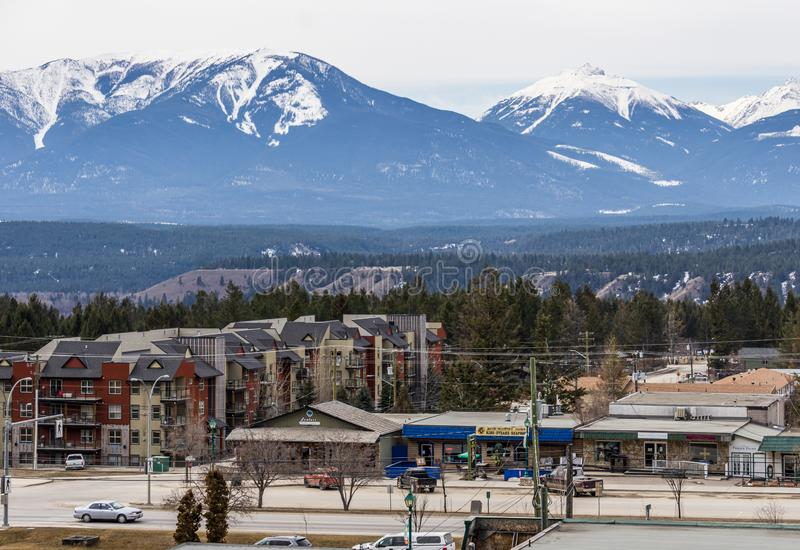 Radium Hot Springs, CANADA - MARCH 23, 2019: Overlooking the town from the mountain top royalty free stock photo