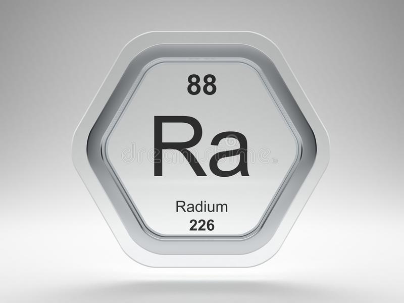 Radium symbol on modern glass and steel icon royalty free illustration