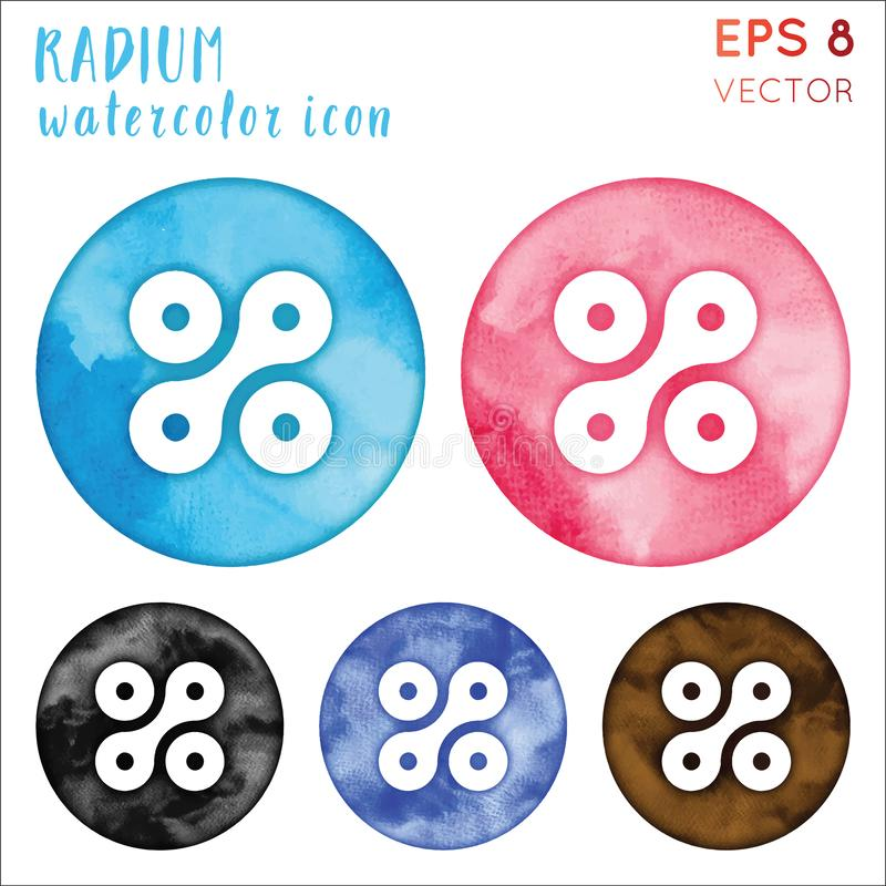 Radium watercolor symbol. vector illustration