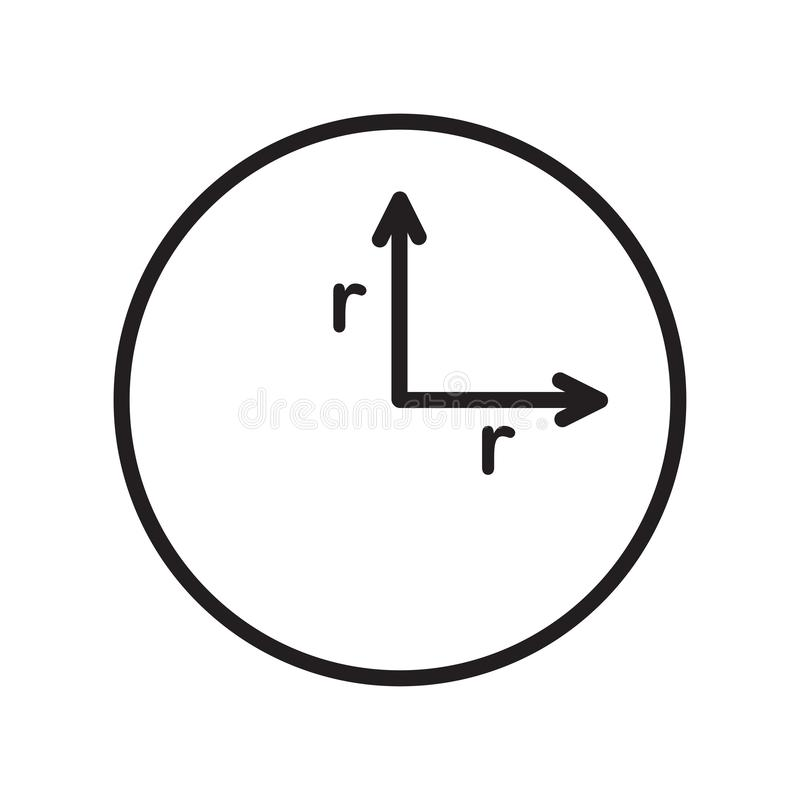 Radius icon vector sign and symbol isolated on white background vector illustration