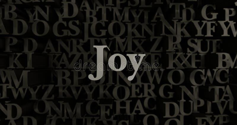 Radość - 3D odpłacająca się kruszcowa typeset nagłówek ilustracja royalty ilustracja
