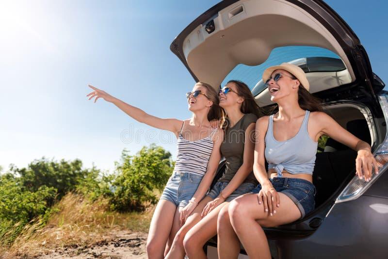 Radośni emocjonalni przyjaciele odpoczywa blisko samochodu obraz stock
