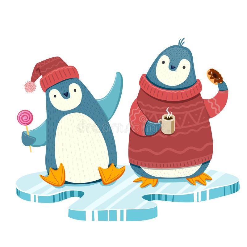 Radośni pingwiny na lodowym floe royalty ilustracja