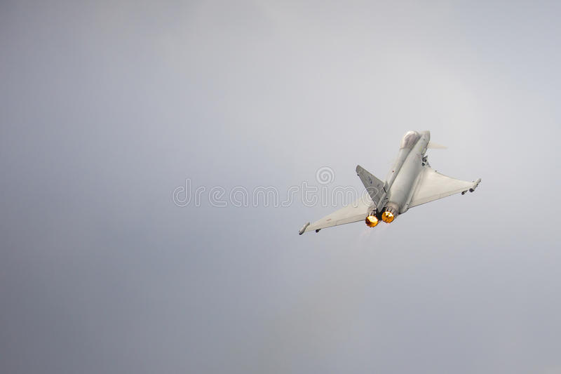 RADOM, POLAND - AUGUST 23: Italian EFA-2000 Eurofighter Typhoon. Demo display team during Air Show 2015 event on August 23, 2015 in Radom, Poland royalty free stock image
