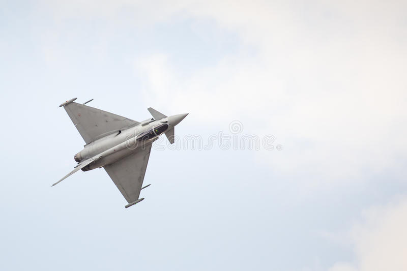 RADOM, POLAND - AUGUST 23: Italian EFA-2000 Eurofighter Typhoon. Demo display team during Air Show 2015 event on August 23, 2015 in Radom, Poland royalty free stock images
