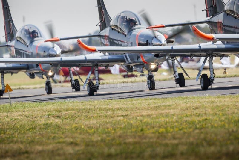 RADOM, POLAND - AUGUST 23: Orlik (Poland) aerobatic display team. At Air Show Radom 2015 event on August 23, 2015 in Radom, Poland royalty free stock photography