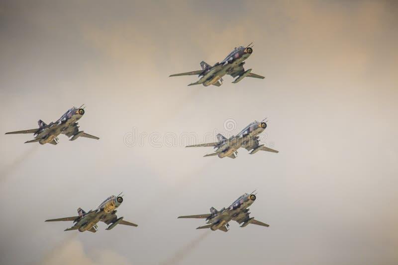 RADOM, POLAND - AUGUST 23: Polish Sukhoi Su-22 bomber planes fly stock images