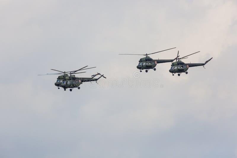 RADOM, POLEN - AUGUSTUS 26, 2017: W-3 Sokol-helikopter tijdens Ai royalty-vrije stock afbeelding