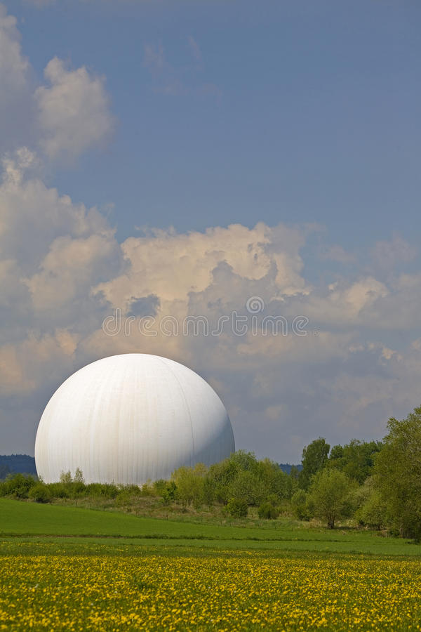 Radom in Raisting. The air dome of the earth station in Raisting royalty free stock photography