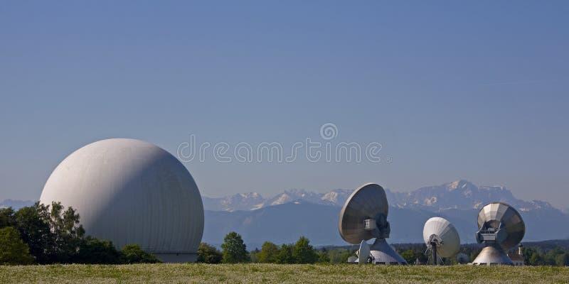 Radom in Raisting/technology. Radom and Parabolic antennas in Raisting in Upper Bavaria stock photos