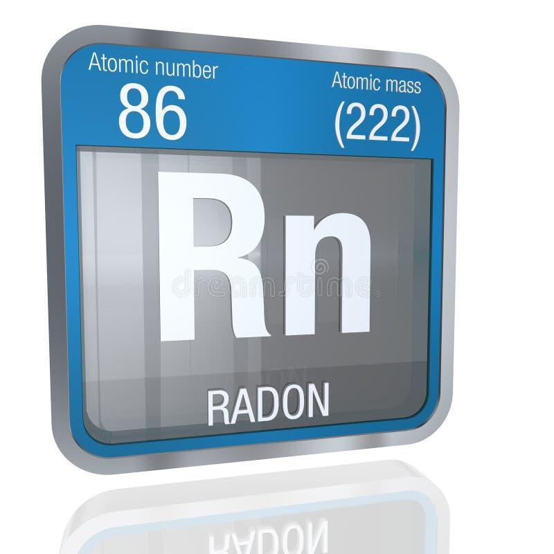 Radonsymbol i fyrkantig form med den metalliska gränsen och genomskinlig bakgrund med reflexion på golvet 3d framför royaltyfri illustrationer