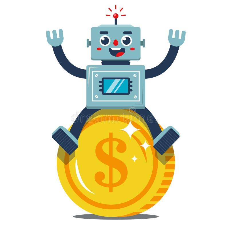 Rados robot siedzi na wielkiej złocistej monecie passive ilustracja wektor