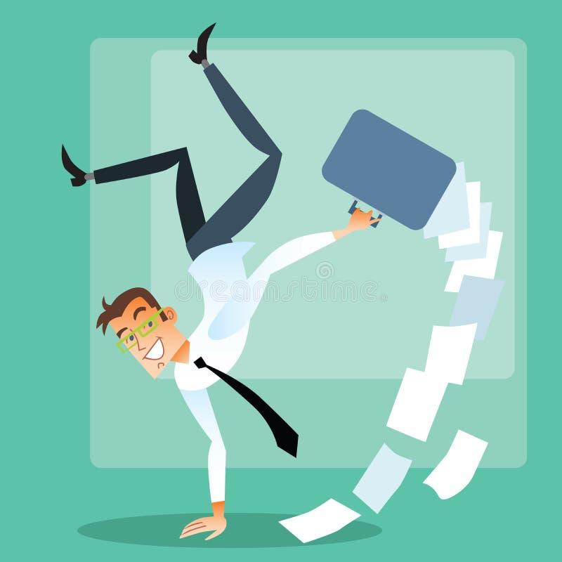 Radosny biznesmen robi handstand zdjęcia royalty free