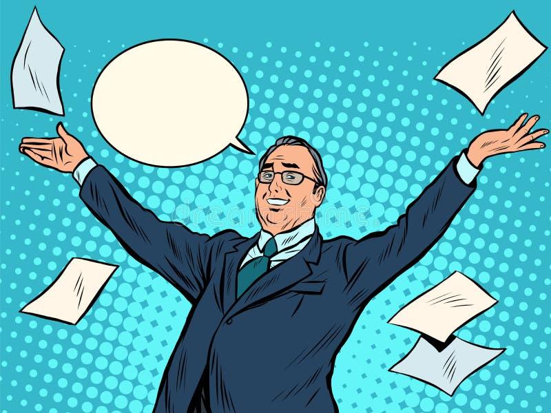 Radosny biznesmena zwycięzca ilustracja wektor