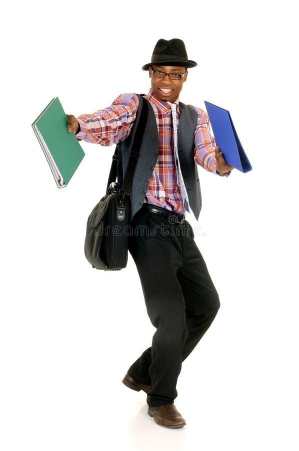 radosny czarny biznesmen zdjęcie stock