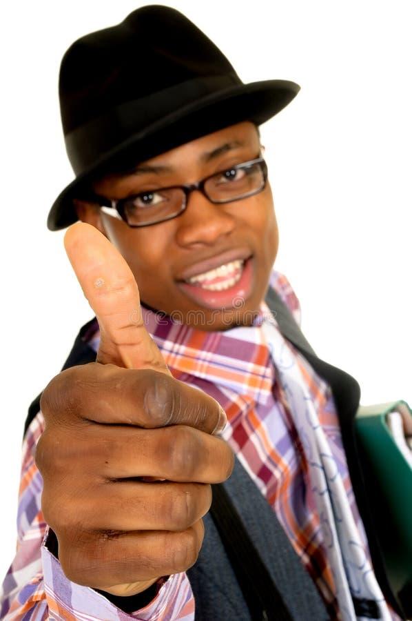 radosny czarny biznesmen zdjęcia stock