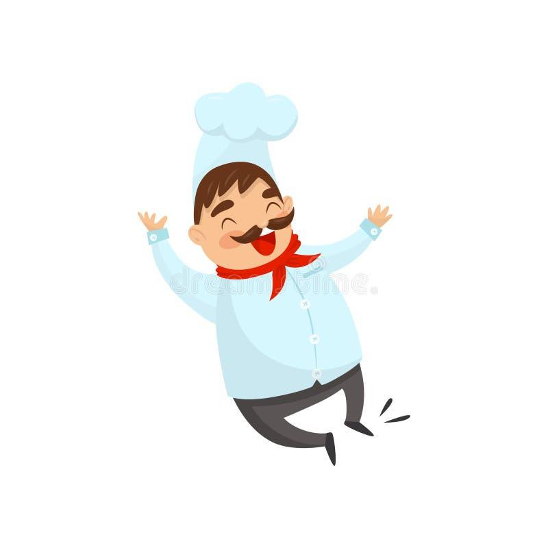 Radosny szef kuchni w skokowej akci Postać z kreskówki śmieszny mężczyzna z wąsy Cook w tradycyjnym jednolitym Płaskim wektorze ilustracja wektor