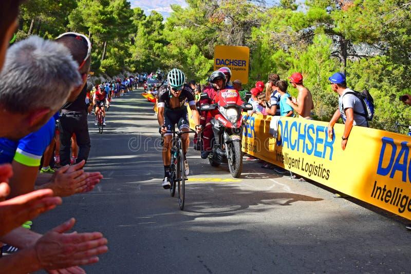 Radrennen Bora Hansgrove Rider And Motorcycle-La Vuelta España stockbilder