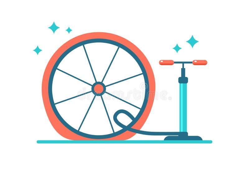 Radreparatur Pumpen Sie den Reifen Flacher Fahrradreifen lizenzfreie abbildung