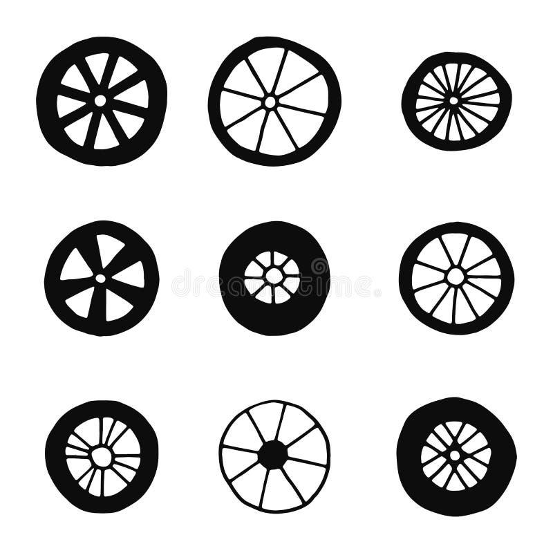 Radschattenbilder stellten Vektorikonen ein Lokalisierte Gegenstände stock abbildung