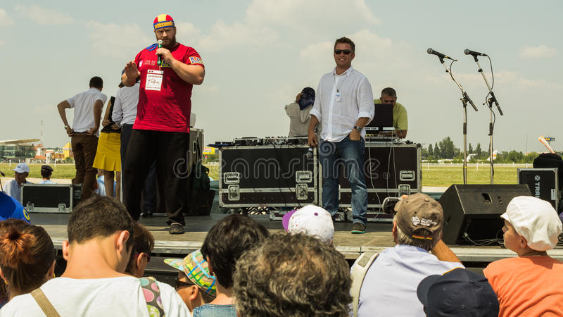 Radu Valahu and Pavel Bartos. On the stage during Bucharest International Air Show 2013 royalty free stock images
