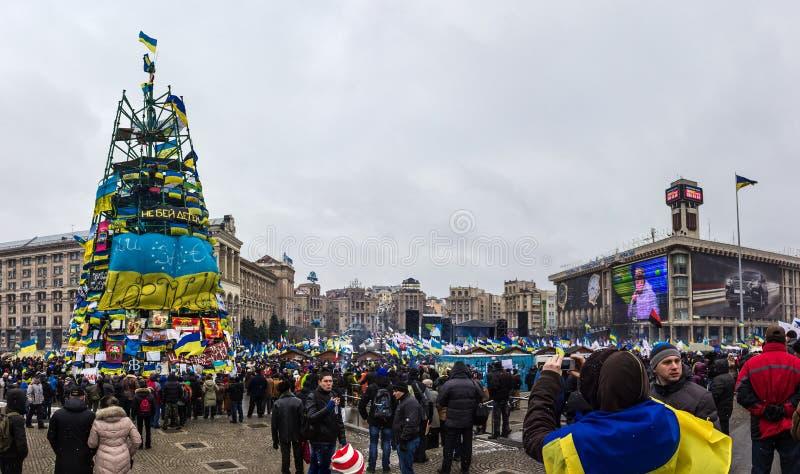 Raduni per integrazione europea nel centro di Kiev fotografia stock libera da diritti