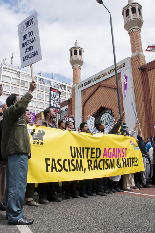 Raduno contro il BNP a Londra, 20 giugno 2010 fotografia stock