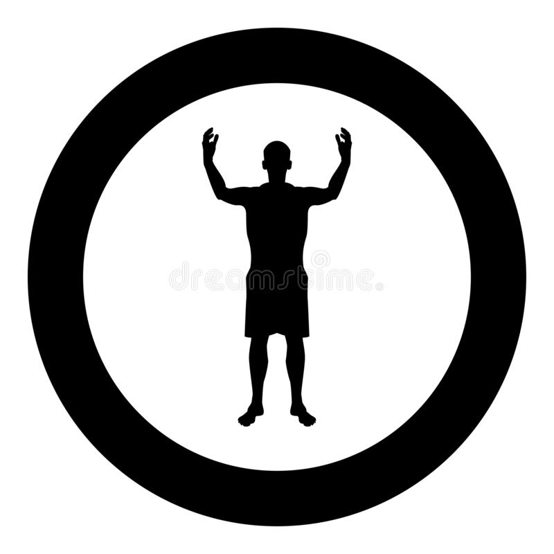 Raduno felice chiunque dell'uomo siluetta che incontra l'illustrazione di colore nera dell'icona di vista frontale di concetto di royalty illustrazione gratis