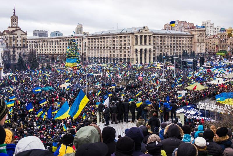 Raduno per integrazione europea nel centro di Kiev immagine stock libera da diritti