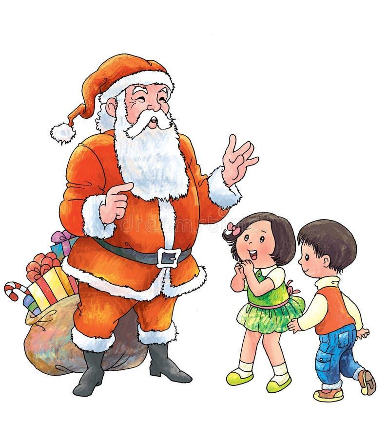Raduno Santa dei bambini durante il natale illustrazione di stock