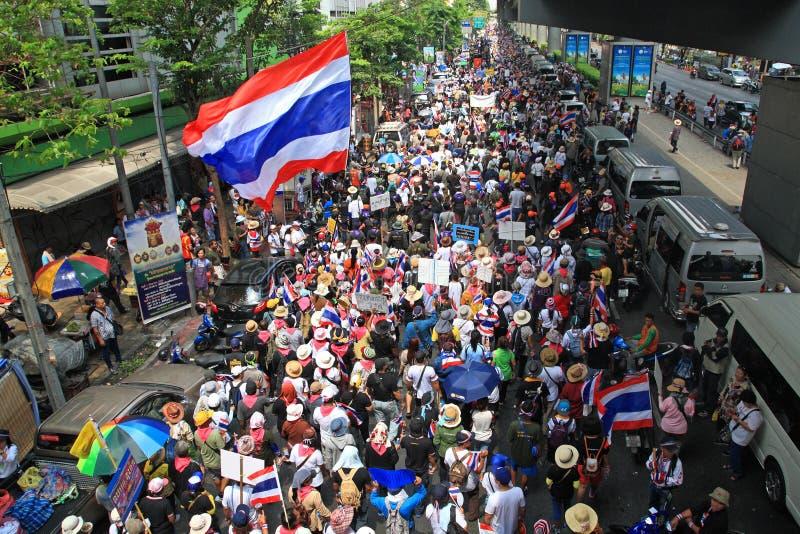 Raduno tailandese dei protestatari di PDRC a Bangkok immagine stock