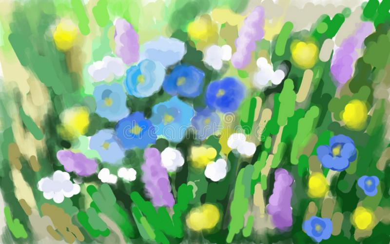 Radura del fiore con i nontiscordardime royalty illustrazione gratis