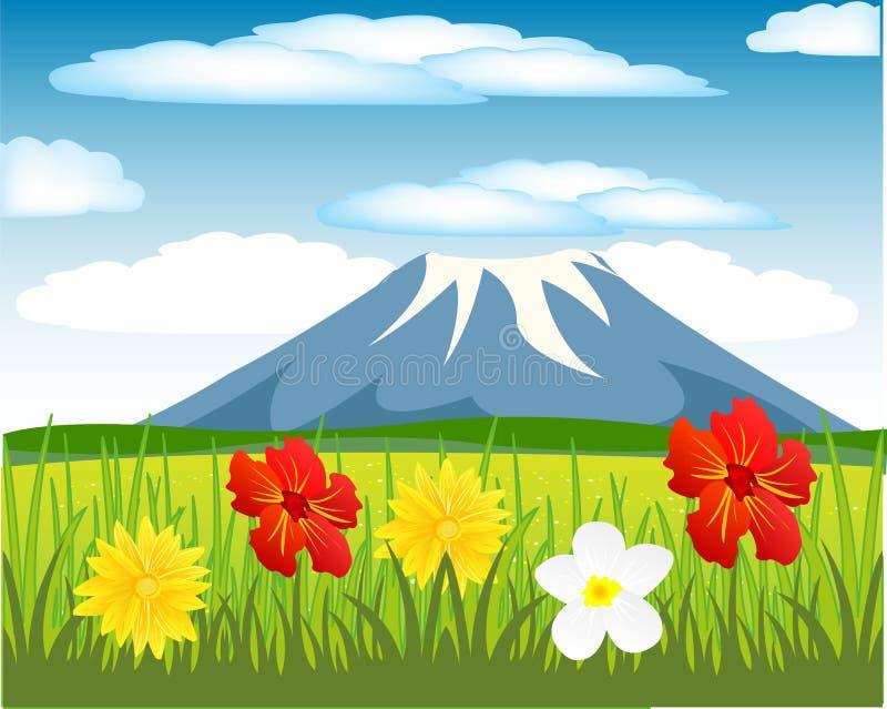 Radura e montagna di anno illustrazione di stock