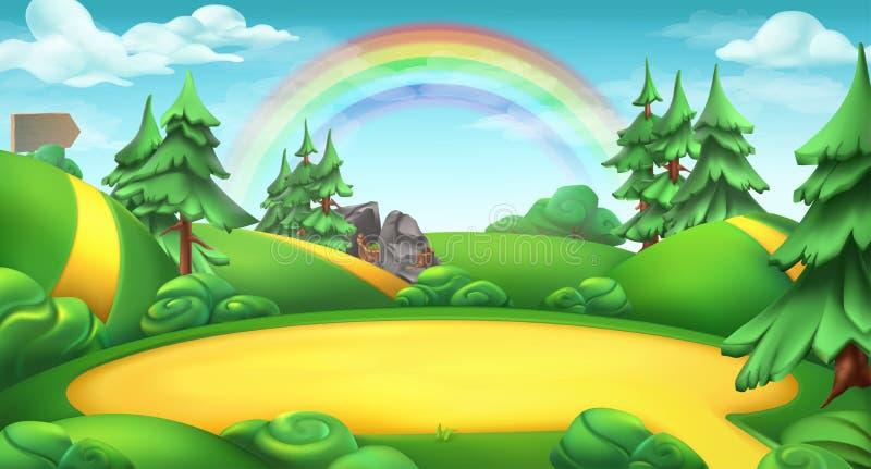 Radura in un fondo di vettore del paesaggio della natura della foresta illustrazione di stock