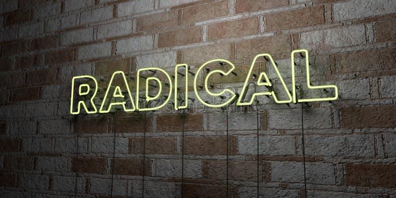 RADYKAŁ - Rozjarzony Neonowy znak na kamieniarki ścianie - 3D odpłacająca się królewskości bezpłatna akcyjna ilustracja ilustracja wektor