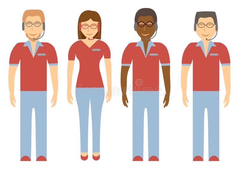 Radzi klient obsługi klienta drużyny Online konsultanci w pełnym przyroscie ilustracja wektor