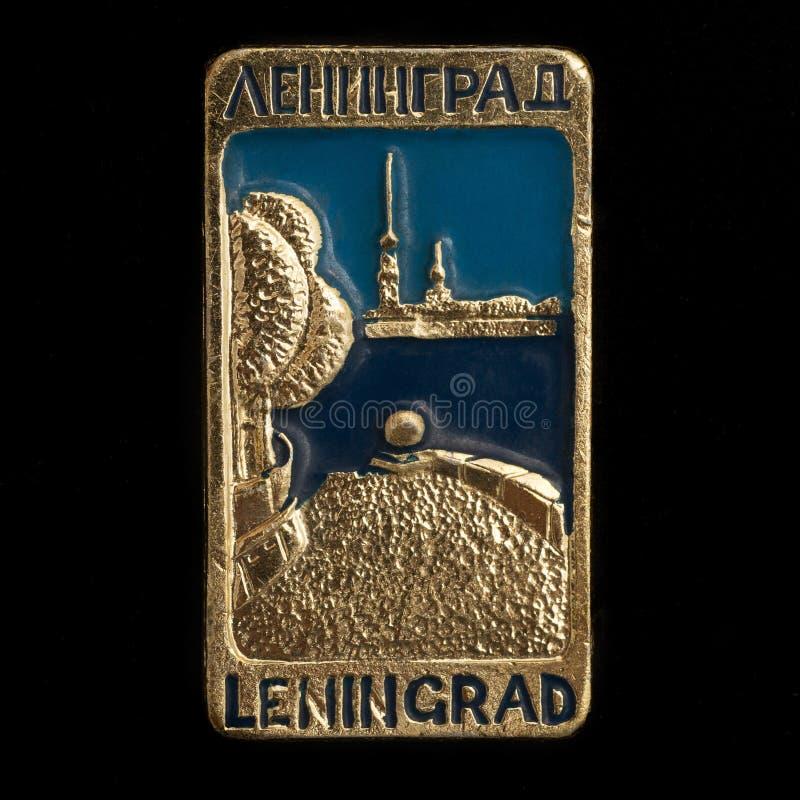 Radziecka odznaka z dwa inskrypcjami Leningrad obraz royalty free