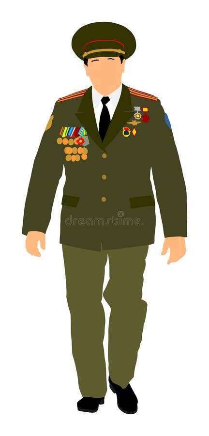 Radziecki dowóca wojskowy w jednolitym wektorze Żołnierz w mundurze ilustracja wektor