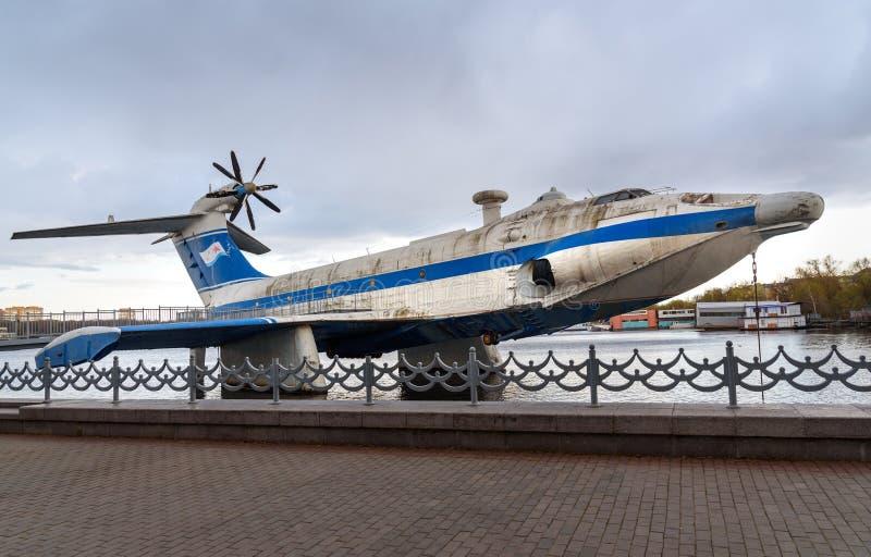 Radziecki ekranoplan A-90 Orlyonok orlę w marynarki wojennej muzeum moscow Rosja zdjęcia stock
