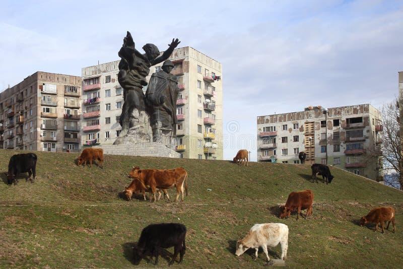 Radziecki zabytek w Chiatura mieście, Gruzja fotografia royalty free