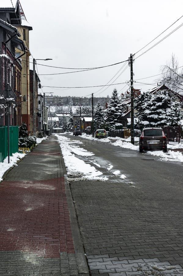 Radzionkow. Poland 04 February 2018 - Winter day in . Silesia, Poland royalty free stock photography