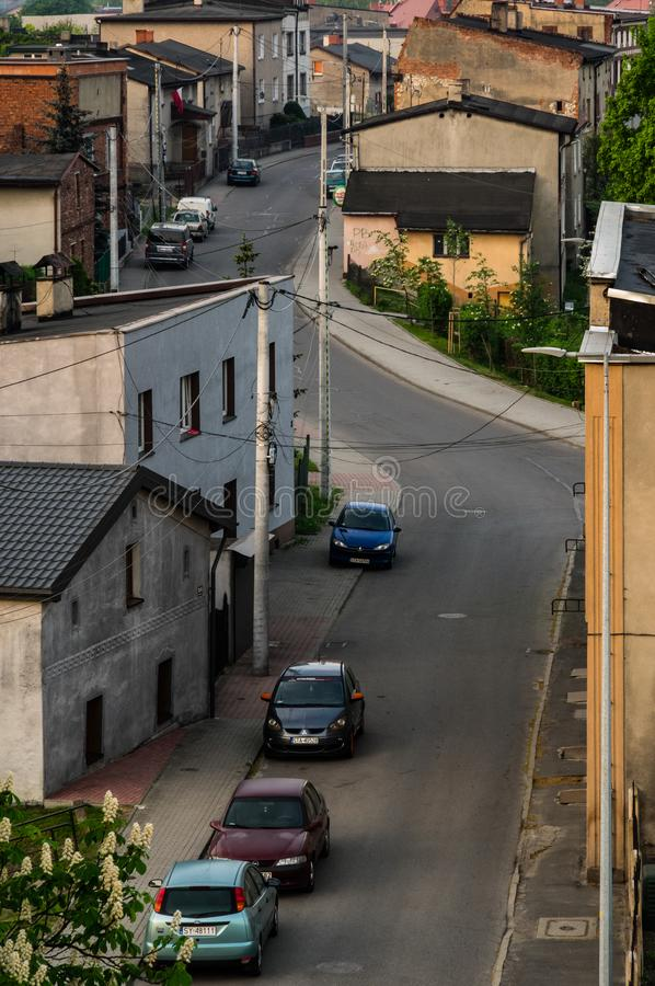 Radzionkow. Poland - 03 may 2018 A view at street in  town. Poland SIlesia stock photography