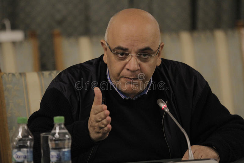Raed Arafat, Secretario de Estado en el ministerio de la rueda de prensa de los asuntos internos fotografía de archivo libre de regalías