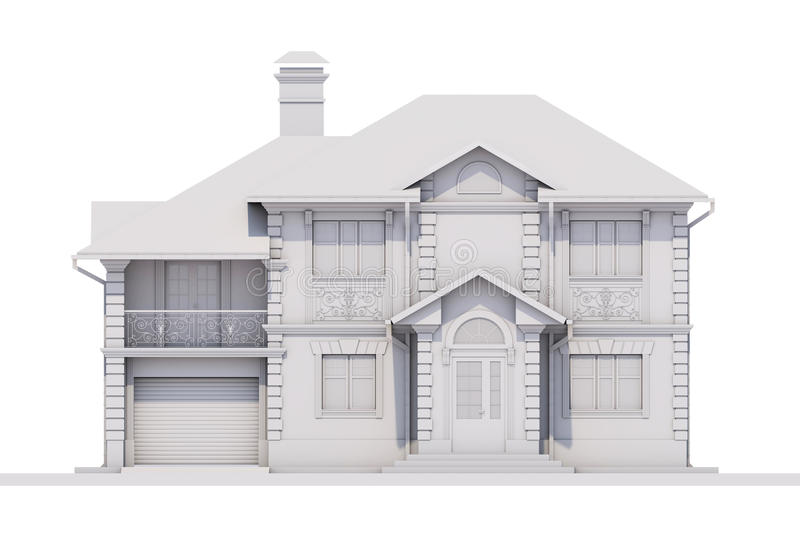 Raeder symetryczna fasada biała chałupa ilustracji