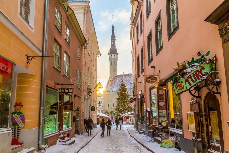 Raekoja plats, Città Vecchia Hall Square e municipio a Tallinn dentro fotografia stock