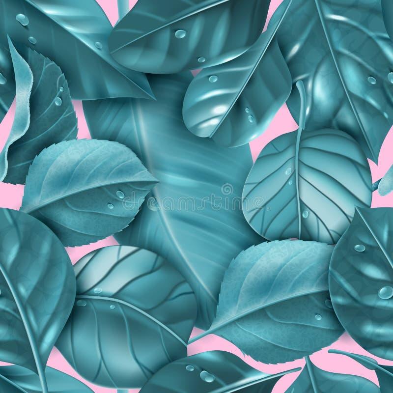 Raelistic lässt nahtloses Muster Nahtloses Muster mit lokalisierten realistischen blauen Blättern auf einem modischen rosa Hinter lizenzfreie abbildung