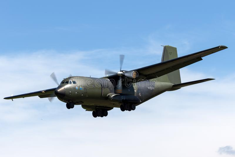 German Air Force Luftwaffe Transall C-160D twin engine military transport aircraft. RAF Fairford, Gloucestershire, UK - July 10, 2014: German Air Force stock photography