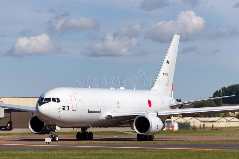 Japan Air Self-Defense Force JASDF Boeing KC-767J aerial tanker aircraft 97-3603. RAF Fairford, Gloucestershire, UK - July 14, 2014: Japan Air Self-Defense royalty free stock images